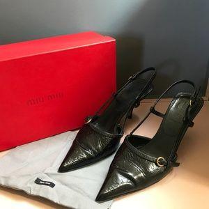 Miu Miu Tooled Black leather Slingback Heels